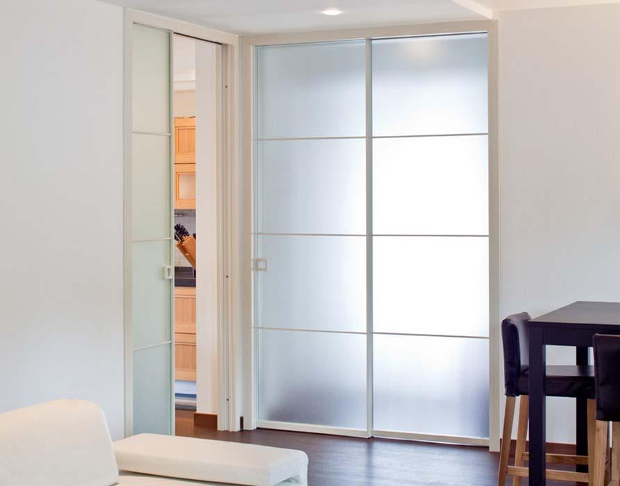 Porte scorrevoli a scomparsa in alluminio vetro temadoors - Porta scorrevole alluminio ...
